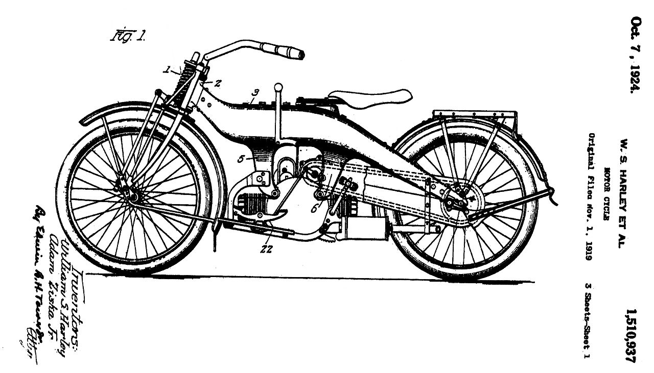 Harley Davidson Motor Company 1919 patent that was issued October 7, 1924.