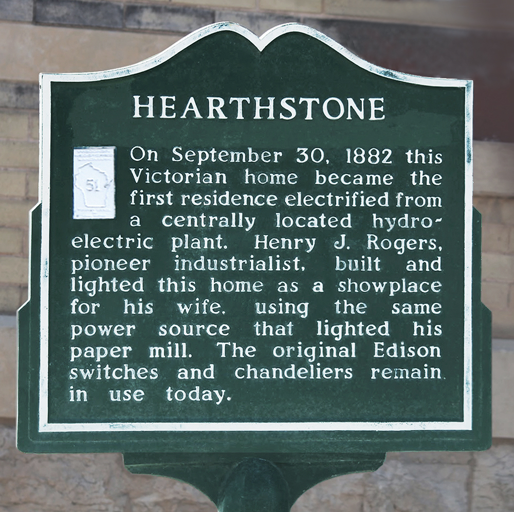 Hearthstone house historic marker in Appleton, Wisconsin.