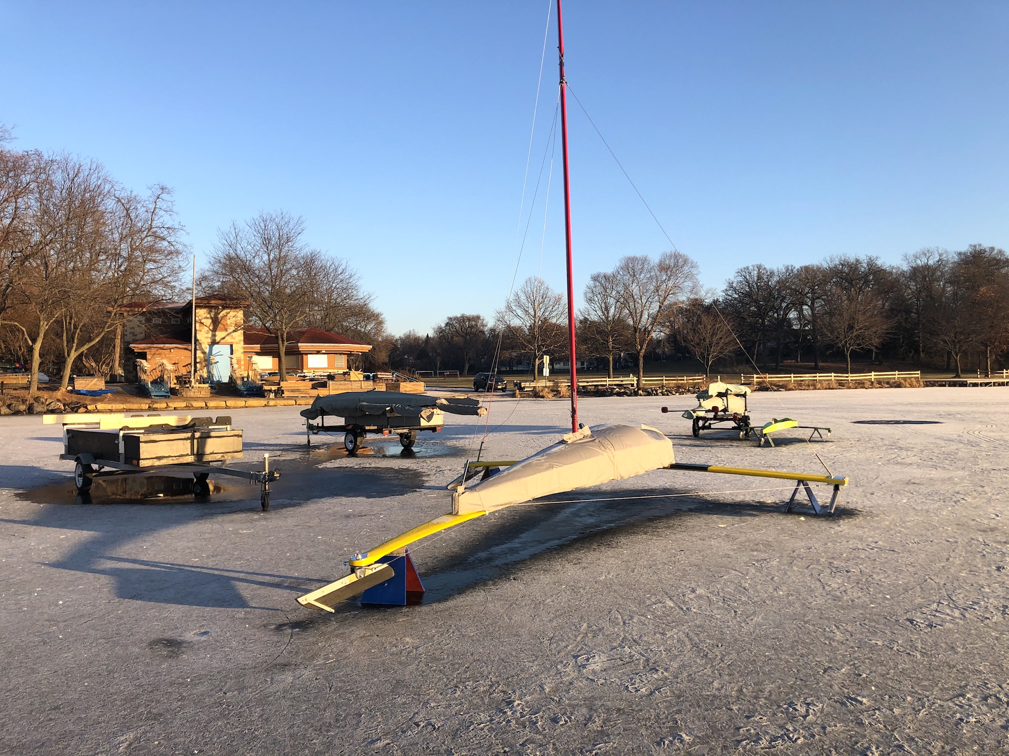 Ice boat on Lake Wingra on December 22, 2019.