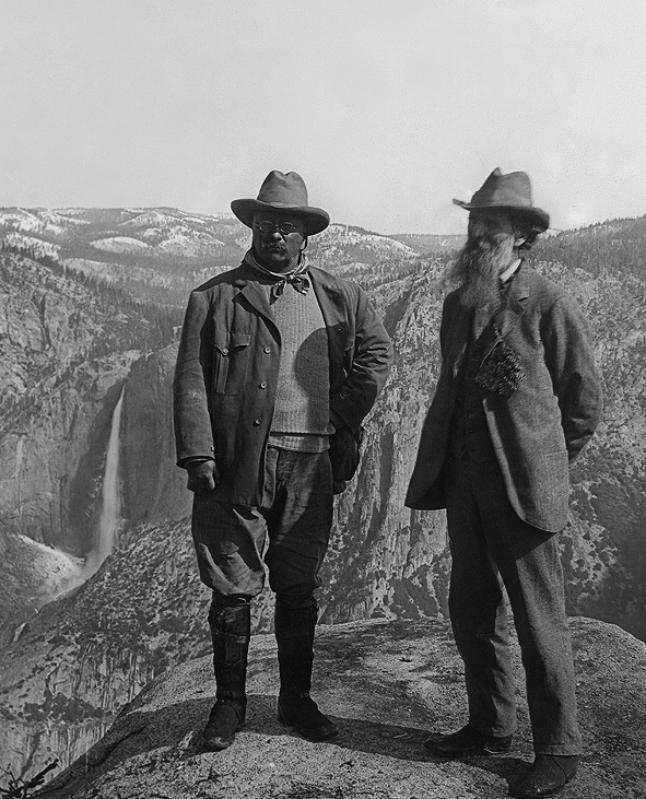 Muir with Teddy Roosevelt on Glacier Point in Yosemite National Park.