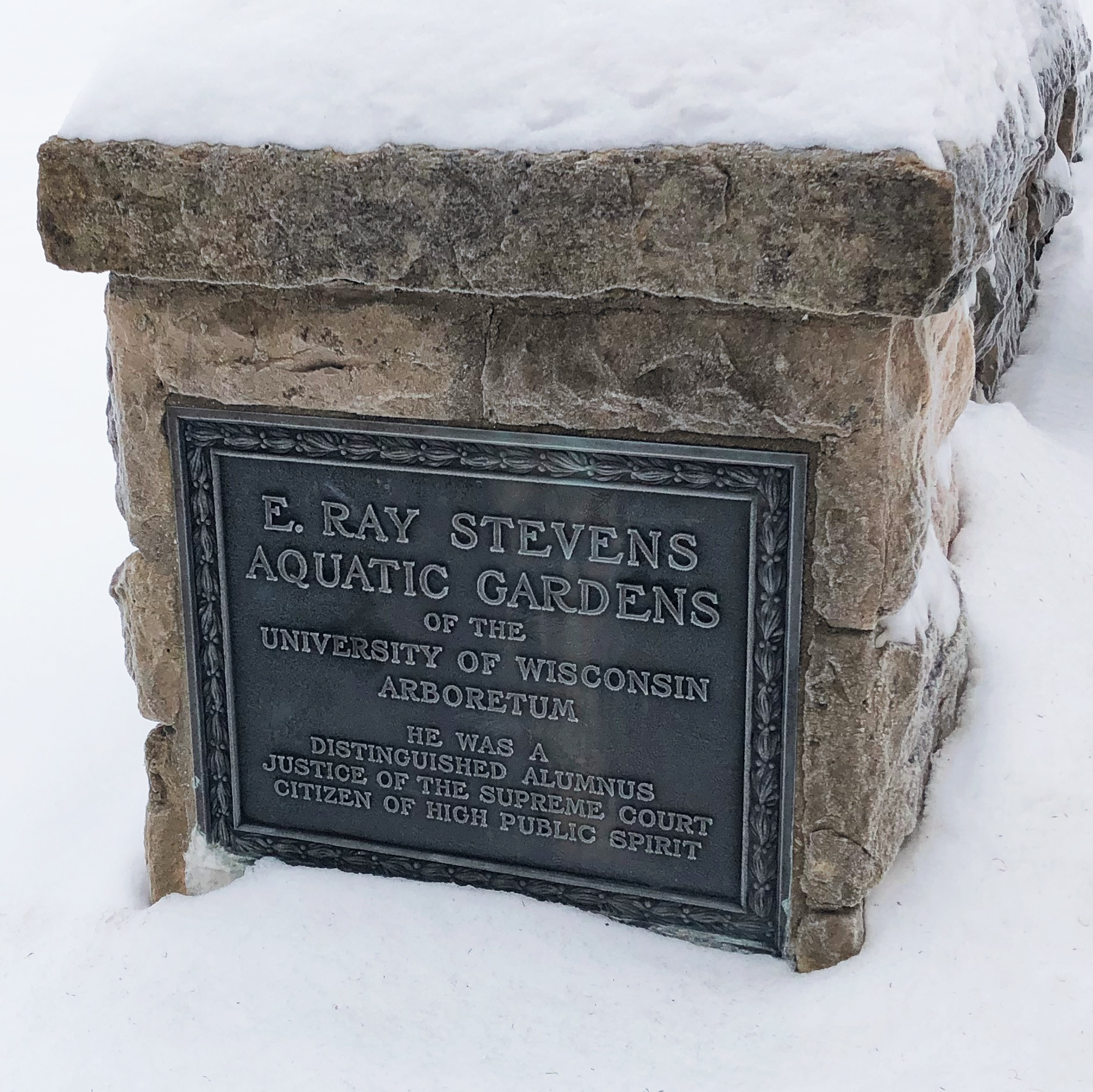 Plaque at entrance to Edmond Ray Stevens Pond and Aquatic Gardens.