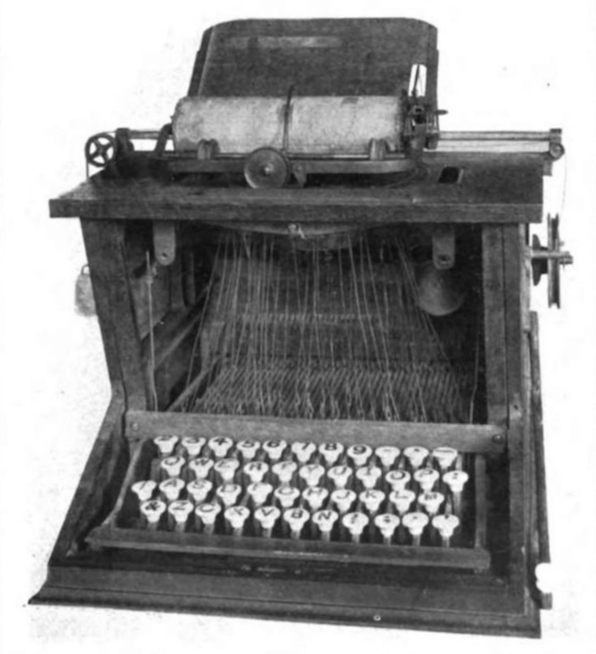 Photo of prototype of the first practical typewriter.