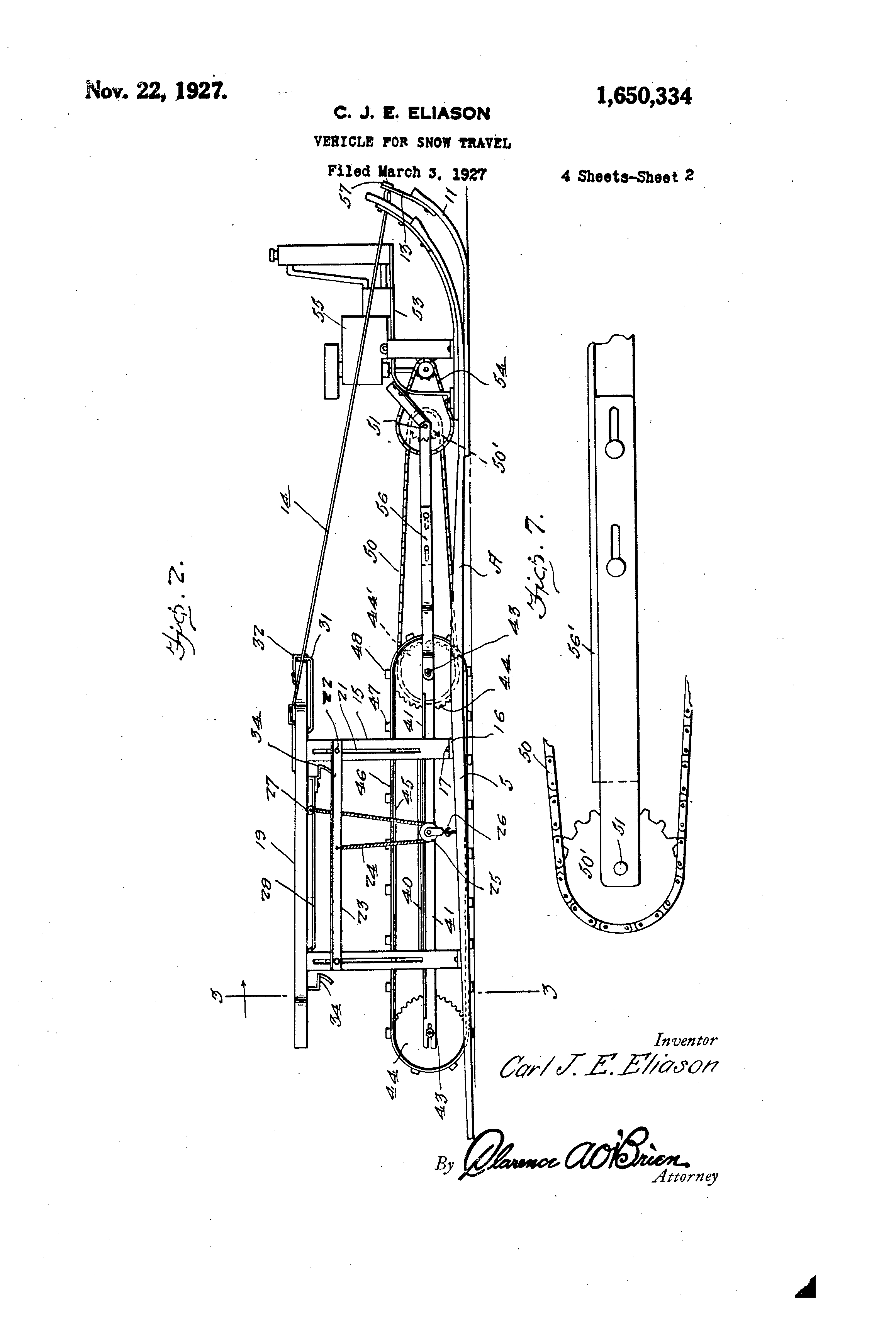 1927 snowmobile patent.