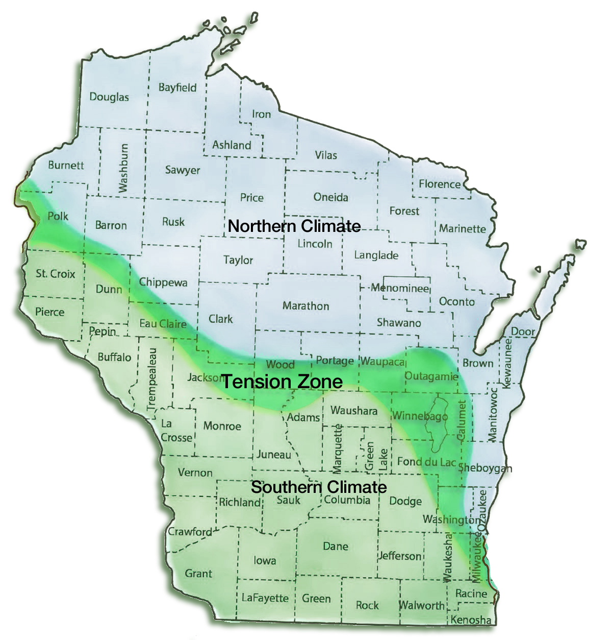 Wisconsin's Tension Zone map.