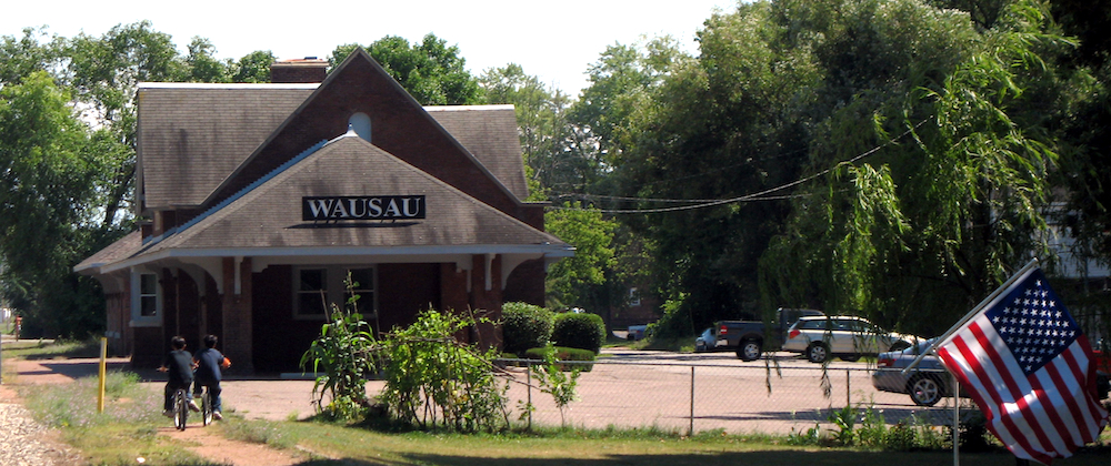 The original Milwaukee Road train station was used as a logo for Wausau Insurance.